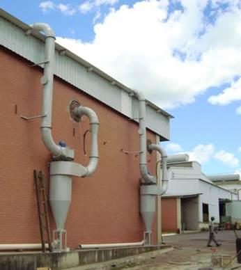 Ciclone e Lavador Venturi e para fumaça de Querosene mais Grafite, forjaria TRW (emissão 19 mg/Nm³)