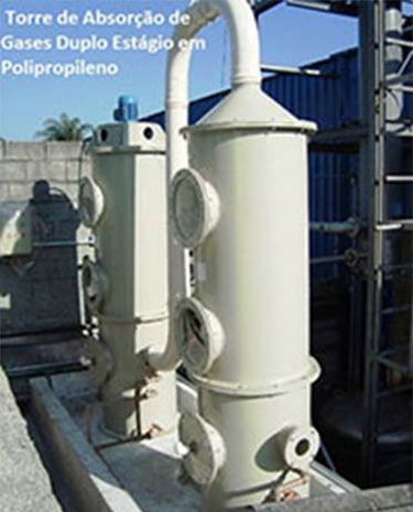 Lavadores de Gases em Duplo Estágio para Reatores Químicos. Construção em Polipropileno