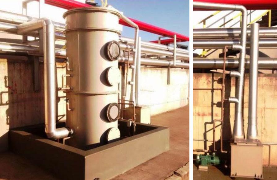 Packed Tower para respiro dos tanques de acetona da Petrobrás Paulínia e Eductor Venturi (venture edutor) para aspiração de gases explosivos