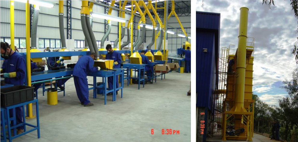 Sistema de Despoeiramento para Fabrica de Baterias (pó de chumbo) Filtro de Mangas Jato Pulsante – Top Removal