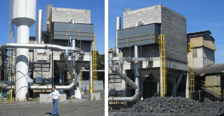 Sistema de Exaustão e Filtragem para 02 Fornos de Fusão Rocha Basaltica (RockFibras do Brasil) - Filtro de Mangas Bag House com Corpo em Alvenaria – CONSTRUÇÃO ECONÔMICA 600 MANGAS