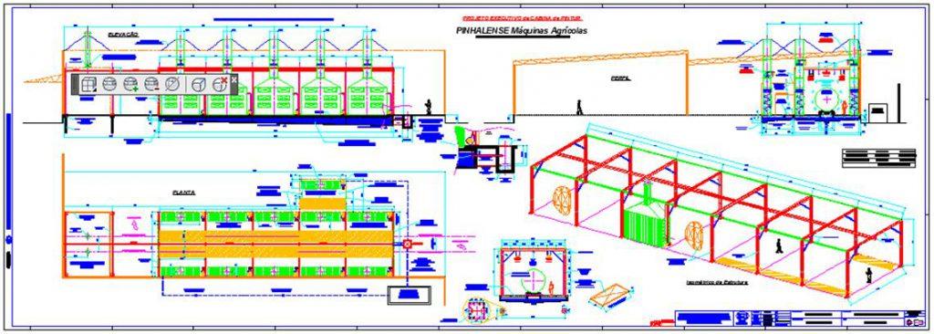 Cabina de Pintura com 30 metros de Comprimento – PINHALENSE Máquinas Agrícolas, Espirito Sto. do Pinhal.