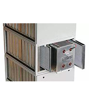 Detalhe, pré-filtro de névoas, de Telas, Célula eletrostática e Filtro de Carvão ativado.