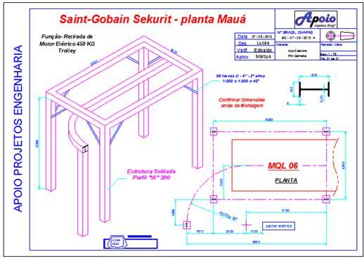Projeto de Estrutura + Trolley para movimentação de Motores, Saint Gobain