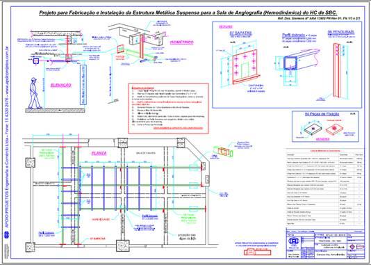 Projeto Dimensionamento, Projeto e Instalação da Estrutura Metálica Suspensa para a Sala de Angiografia - Hemodinâmica do Hospital de Clinicas de SBC